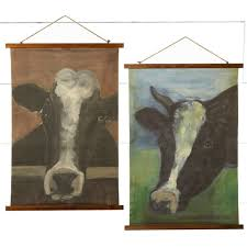 rolled cow canvas wall decor set of 2 on two cows canvas wall art with rolled cow canvas wall d cor set of 2 antique farmhouse
