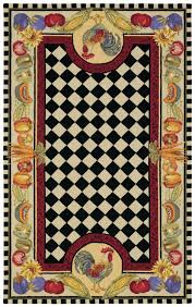 Rooster Area Rugs Kitchen Contemporary Hand Made Novelty Rug With Black And White Checkered