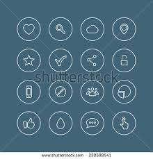 rounded thin icon set 02 menu stock vector 153535001 shutterstock set of variety modern stylized application icons isolated on blue background vector illustration