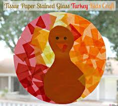 tissue paper stained glass turkey kids craft jpg