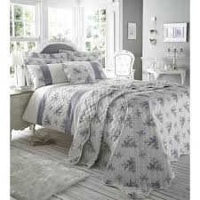 catherine lansfield toile french style fl blue grey duvet set