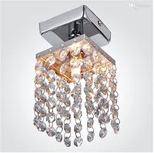 mini semi flush mount in crystal chandelier modern chandeliers ceiling lamp entrance hallway light black and chrome
