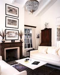 view in gallery living room with dark and light tones