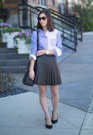 jcrew tuxedo on up blouse pleated leather skirt j crew tuxedo shirt styled by top