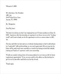 good letter of resignation resignation letters format internship resignation letter format