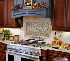 Mural Tiles For Kitchen Decor Clermont Upright Pewter stone tile kitchen backsplash close up 1