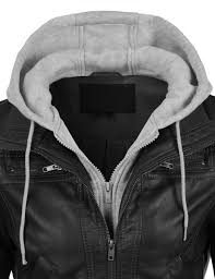 le3no womens casual motorcycle fleece hoo faux leather jacket