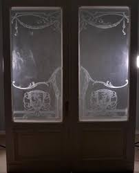 pair of antique french etched glass doors frosted stained glass seasons cherubs