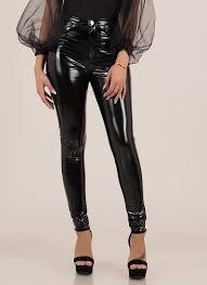 gloss lady faux patent skinny pants black