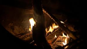 camp fire burning at night close up 4k stock clip