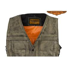 womens distressed brown leather motorcycle vest with side laces