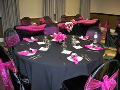 Black and pink table settings