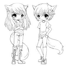 Small Picture anime girl and boy coloring pages free