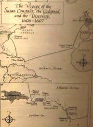 jamestown settlement *** Map Of Voyage From England To Jamestown map showing voyage to jamestown England to Jamestown VA Map