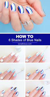 6 Shades of Blue Nail Art - Tutorial