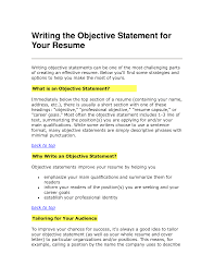 Good Objective Statement For Resume Examples