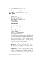 introduction to coopetition and innovation contemporary topics introduction to coopetition and innovation contemporary topics and future research opportunities pdf available