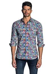 Jared Lang Shirt Size Chart Blue Multicolor Printed Shirt For Men T 757