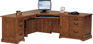varnished gany wood computer desk with pile up drawers and cabinet rustic corner computer desk