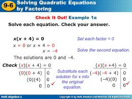 substitute each solution for x into the original equation