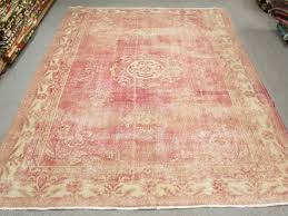 super vintage pink rug turkish oushak wool handmade pale pink from oldvin
