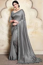 Grey Color Designer Blouse Steel Grey Color Silk Trendy Designer Saree