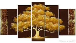 handpainted money tree oil paint 5panels goldentree modern canvas art wall decor wood inside frame easy to hang landscape painting wall paintings modern