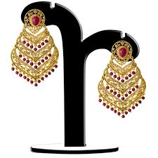 spargz antique wedding wear gold plated maroon beads with ad stone filigree chandelier earrings for women aier 1055 best s in india