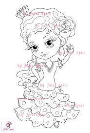 Small Picture Digital stamps Flamenco Sevillana Spanish Girl Craft Big Eyes