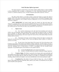 Purchase Agreement Samples Option To Buy Shares Agreement Template 10 Stock Purchase Agreement