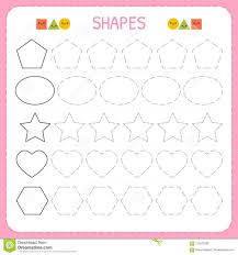 Math Worksheets Tracing Patterns For Kindergarten Learn Shapes And ...