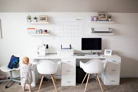 Office playroom Multipurpose White And Pink Modern Playroom Office Combo Positively Oakes Home Modern Office Playroom Combo Positively Oakes