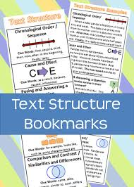 Chronological Words Text Structure Bookmark With Graphic Organizers Key Words