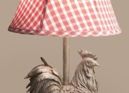rooster lamp w gingham shade roosters and ens