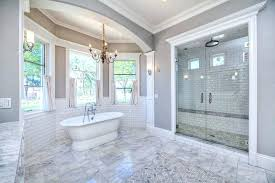 white subway tile shower large luxury bathroom with and bench
