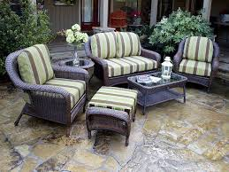 patio outdoor wicker furniture sets resin wicker patio furniture green and brown stripped cushioned black