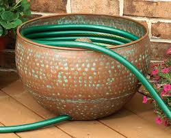 garden hose caddy. CobraCo Round Hammered Copper Finish Hose Holder Garden Caddy