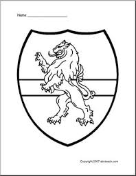 Coloring Page Medieval Shield Lion Abcteach