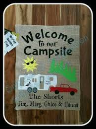 camping garden flag. Plain Camping Happy Camper Burlap Garden Flag  DIY Pinterest Garden  Flags Campers And Inside Camping