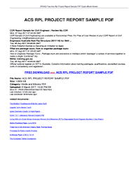 Fillable Online Read Free Acs Rpl Project Report Sample Pdf