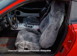 installed sheepskin car seat covers charcoal tailor made premium