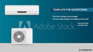 Template With Air Conditioning For Advertisement On Horizontal Long