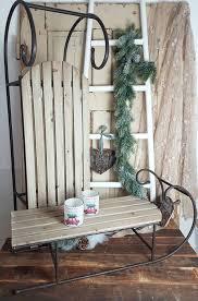 Schlitten Holz Metall Shabby Vintage Landhaus Nostalgie Weihnachten Deko Braun