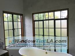 frosted privacy window applied in bathroom