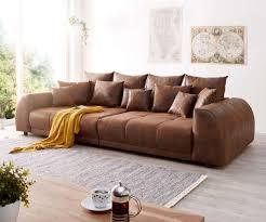 Big Sofa Violetta 310x135 Cm Braun Antik Optik Mit Kissen