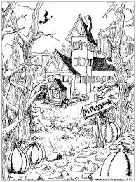 Haunted House Coloring Page Cute Haunted House Coloring Pages Adult