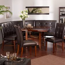 dining room marvelous brown wooden table combined with corner black leather tufted bench and chairs