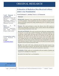 Pdf Estimation Of Radiation Dose Received In Knee Joint X