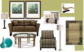 green walls brown couch simple home