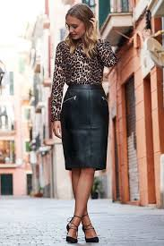 black leather zip pocket pencil skirt
